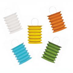 5 Zuglaternen Ø 7,5 cm 8 cm farbig sortiert -Mini- schwer entflammbar