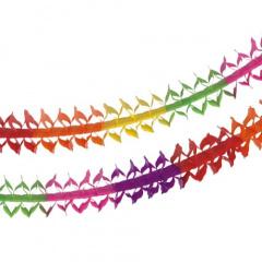 Girlande, Papier oval 4 m -Rainbow- schwer entflammbar