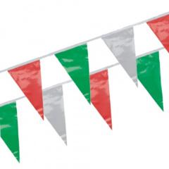Wimpelkette, Folie 4 m -grün, weiß, rot- wetterfest