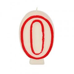 Zahlenkerze 7,3 cm weiss -0- mit rotem Rand