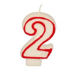 Zahlenkerze 7,3 cm weiss -2- mit rotem Rand