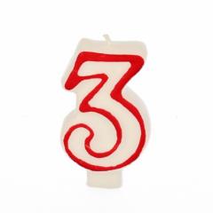 Zahlenkerze 7,3 cm weiss -3- mit rotem Rand