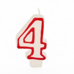 Zahlenkerze 7,3 cm weiss -4- mit rotem Rand