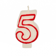 Zahlenkerze 7,3 cm weiss -5- mit rotem Rand