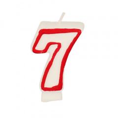 Zahlenkerze 7,3 cm weiss -7- mit rotem Rand