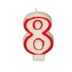 Zahlenkerze 7,3 cm weiss -8- mit rotem Rand