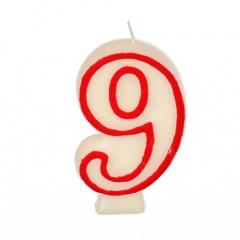 Zahlenkerze 7,3 cm weiss -9- mit rotem Rand