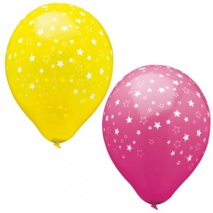 15 Luftballons Ø 25 cm farbig sortiert -Stars-