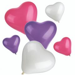 12 Luftballons farbig sortiert -Herz- small + medium
