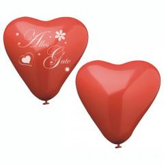 8 Luftballons Ø 31,5 cm rot -Herz- mit Druck