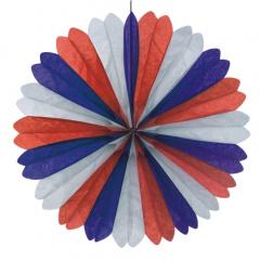 Dekofächer Ø 60 cm -blau/weiss/rot- schwer entflammbar