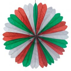 Dekofächer Ø 60 cm -grün/weiss/rot- schwer entflammbar