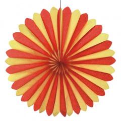 Dekofächer Ø 60 cm -rot/gelb/rot- schwer entflammbar