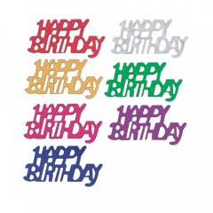 Deko-Streuschmuck, Folie -Happy Birthday-