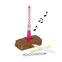 Musikkerze 12 cm farbig sortiert -Happy Birthday- mit 3 Ersatzkerzen