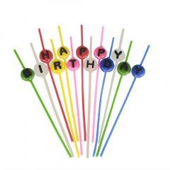 Spaghettikerzen-Set 16 cm farbig sortiert -Happy Birthday-