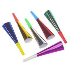 6 Trompeten 18 cm farbig sortiert -Metallic-