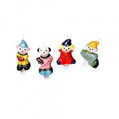 4 Geburtstagskerzen 4,5 cm -Clown- inkl. Halter