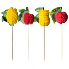 100 Deko-Picker 15 cm -Früchte-