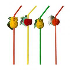 100 Trinkhalme, flexibel Ø 5 mm 24 cm -Früchte-