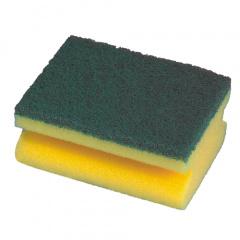 2 Topfreiniger, Schwamm eckig 4,4 cm x 9,5 cm x 7 cm gelb mit Griffrille