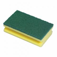 8 Topfreiniger, Schwamm eckig 15,5 cm x 8,5 cm x 4 cm gelb mit Griffrille
