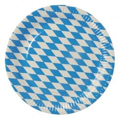 50 Teller, Pappe rund Ø 26 cm -Bayrisch Blau- extra stark