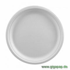 50 Teller, Zuckerrohr -pure- ungeteilt Ø 26 cm 2 cm weiss