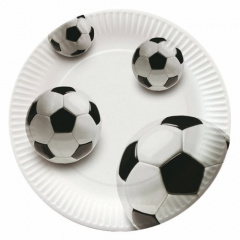 10 Teller, Pappe rund Ø 23 cm -Soccer- Fußball