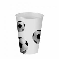 10 Trinkbecher, Pappe 0,2 l Ø 7 cm 9,7 cm -Soccer-