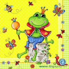 20 Servietten, 3-lagig 1/4-Falz 33 cm x 33 cm -Prince Frog-