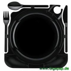 48 Cater Plates, PS 27 cm x 26,5 cm x 2,8 cm schwarz Karton 8 x 6 Stück