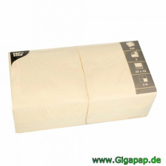 250 Servietten, 3-lagig 1/4-Falz 33 cm x 33 cm creme