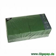 1000 Servietten, 3-lagig 1/4-Falz 33 cm x 33 cm dunkelgrün - Karton