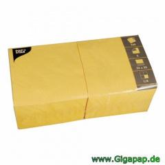 1000 Servietten, 3-lagig 1/4-Falz 33 cm x 33 cm gelb - Karton