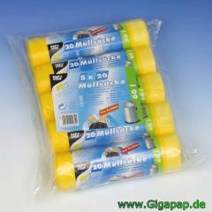 500 Müllsäcke zum Zuziehen, HDPE 60 l 71 cm x 64 cm gelb- Karton