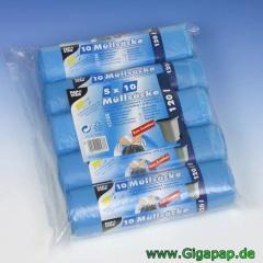 200 Müllsäcke zum Zuziehen, HDPE 120 l 100 cm x 70 cm blau- Karton