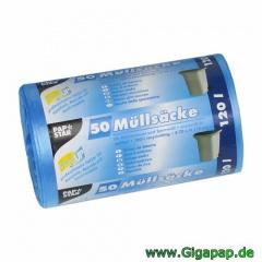 200 Müllsäcke, HDPE 120 l 110 cm x 70 cm blau- Karton