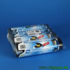 320 Auskleidesäcke für Mülltonnen 120 l 110 cm x 90 cm schwarz- Karton