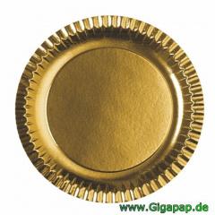90 Teller, Pappe rund Ø 29 cm gold- Karton