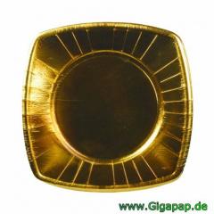160 Teller, Pappe eckig 20 cm x 20 cm gold- Karton