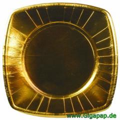 160 Teller, Pappe eckig 26 cm x 26 cm gold- Karton