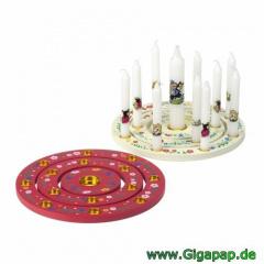 Kerzenringset, Holz rund Ø 18 cm rot -3-teilig