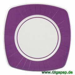 8 Teller, Pappe eckig 26 cm x 26 cm lila -Basic-