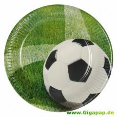 10 Teller, Pappe rund Ø 23 cm -Football-