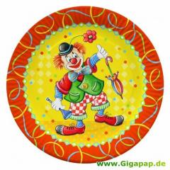 10 Teller, Pappe rund Ø 23 cm -Clown-