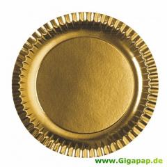 6 Teller, Pappe rund Ø 29 cm gold