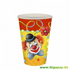 10 Trinkbecher, Pappe 0,2 l Ø 7 cm 9,7 cm -Clowngesicht-
