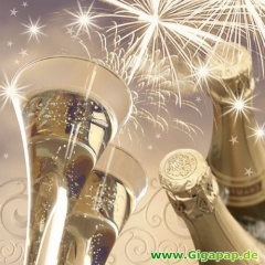 20 Servietten, 3-lagig 1/4-Falz 33 cm x 33 cm -New Year's Eve-