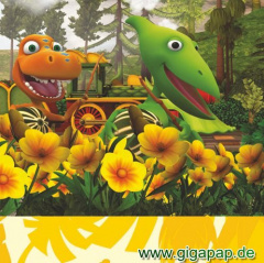 20 Servietten, 3-lagig 1/4-Falz 33 cm x 33 cm -Dinosaur Train-